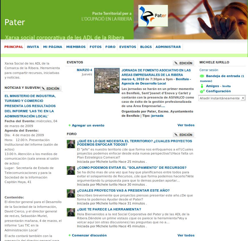 Asi se presenta la red social Corporativa Pater-ADL con plataforma Ning